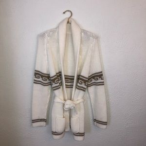 Vintage Cream Brown Sweater Cardigan